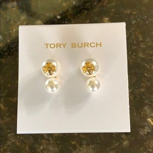 Authentic Tory Burch Evie Double Pearl Earrings